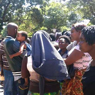 Alcuni rifugiati nella parrocchia Sant'Ignazio a Lusaka