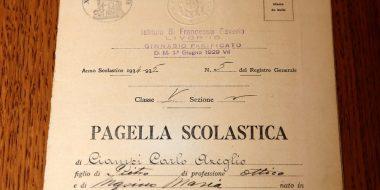 La pagella scolastica di Carlo Azeglio Ciampi, ex alunno del collegio dei gesuiti San Francesco Saverio a Livorno